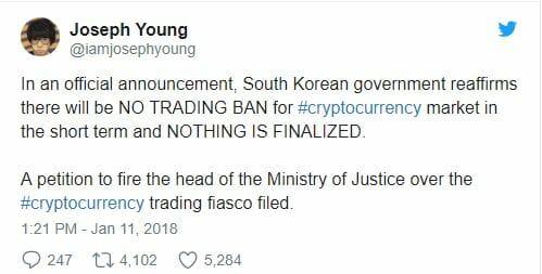 verbod zuid korea crypto