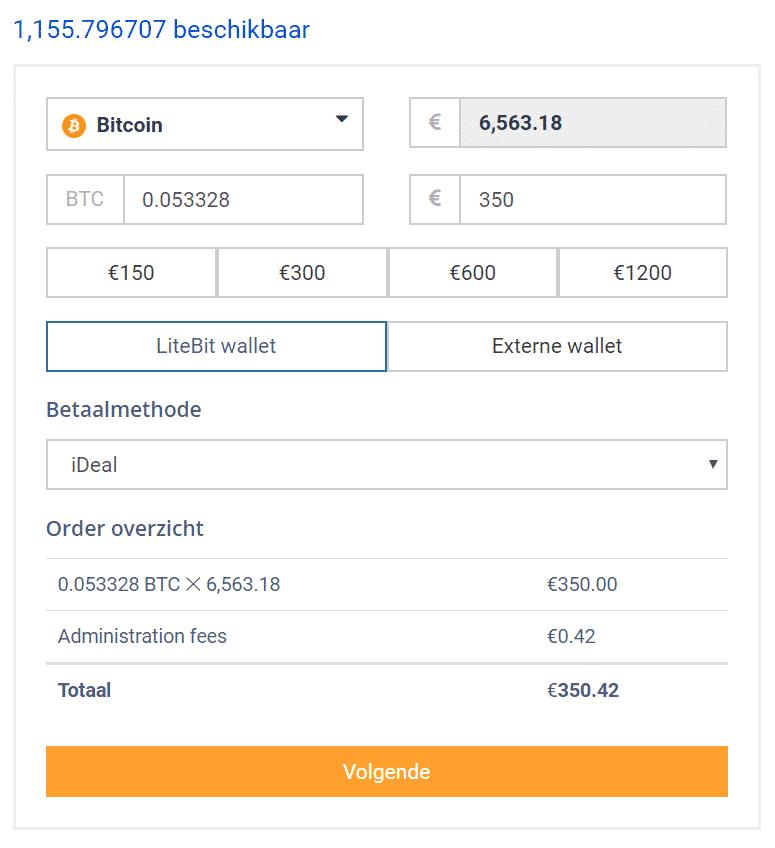 Litebit Bitcoin kopen widget